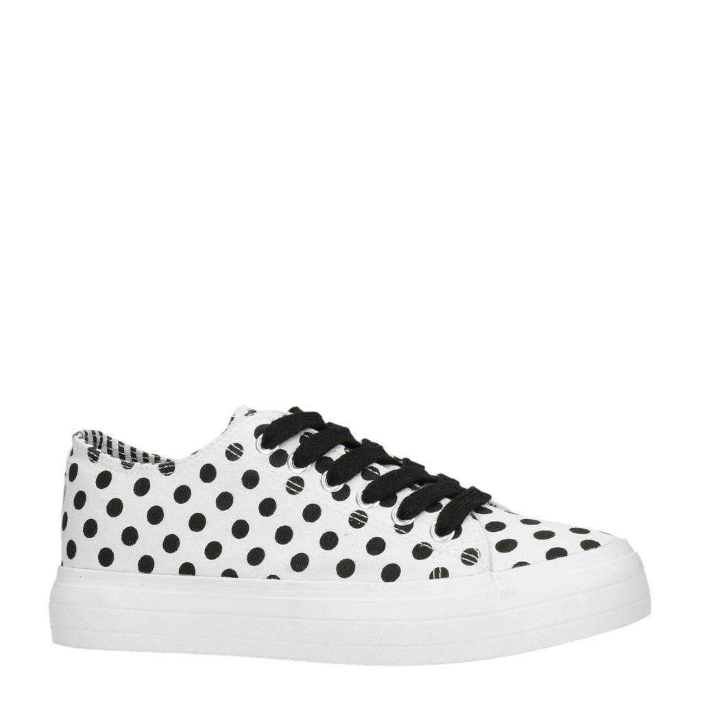 Sacha  plateau sneakers wit/zwart, Wit/zwart