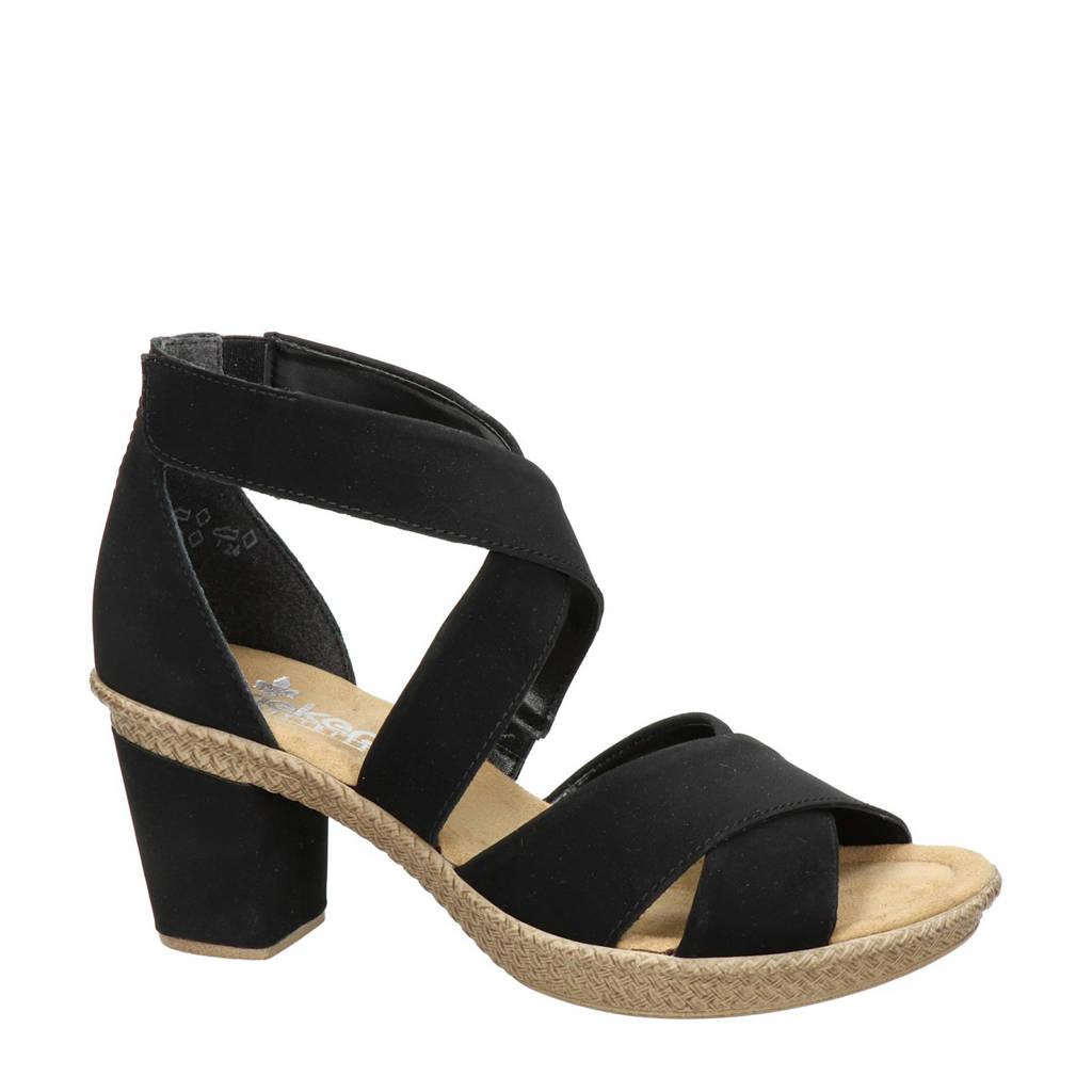 Rieker   sandalettes zwart, Zwart