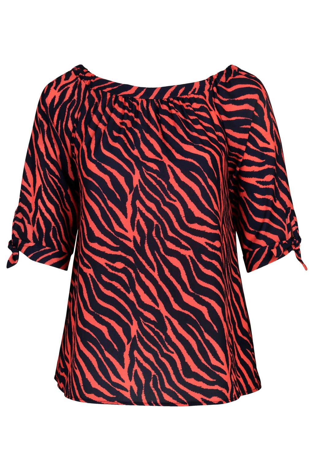 Paprika top met zebraprint, Rood/zwart