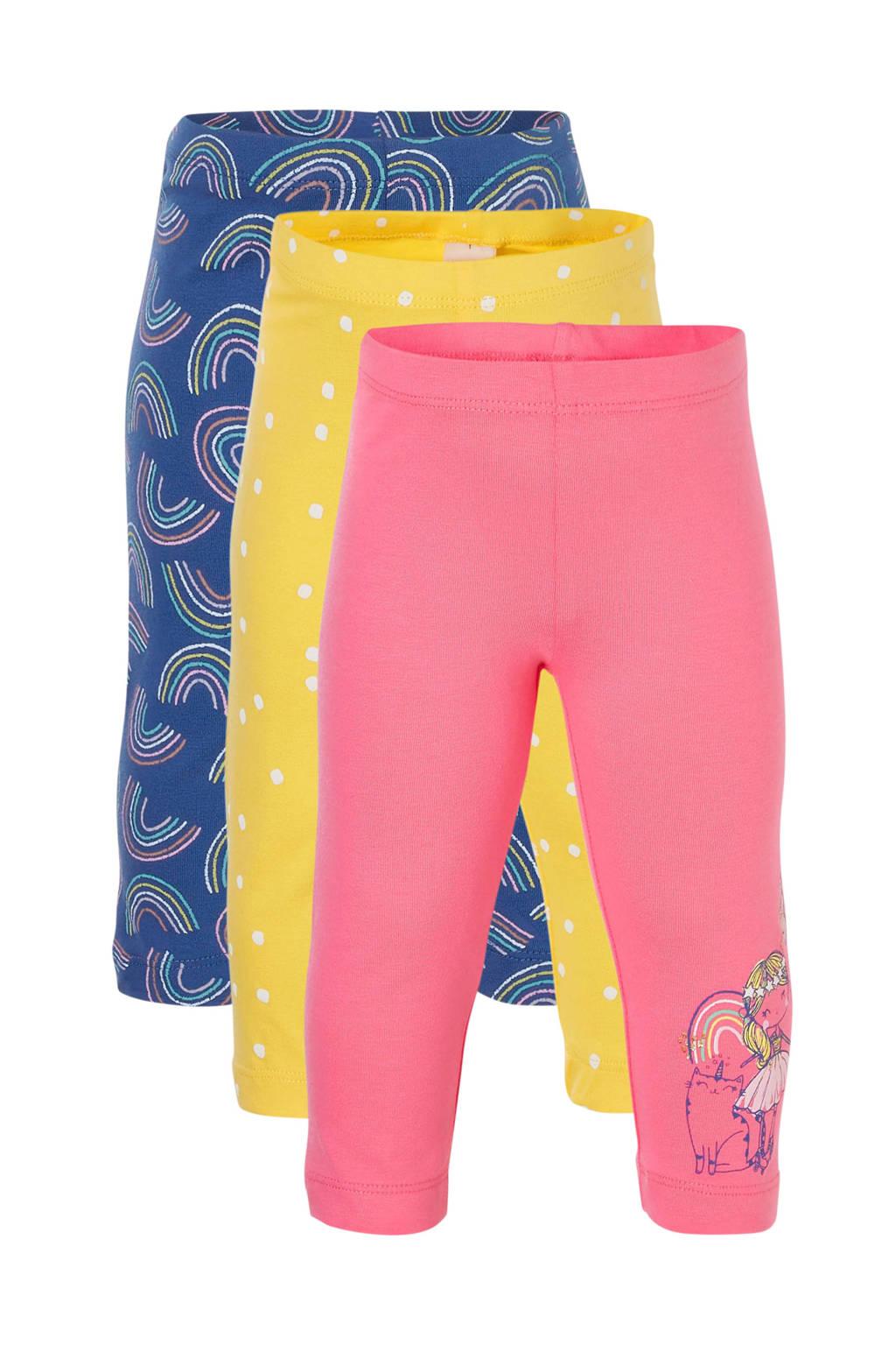 C&A Palomino legging - set van 3 geel/blauw/roze, Geel/blauw/roze