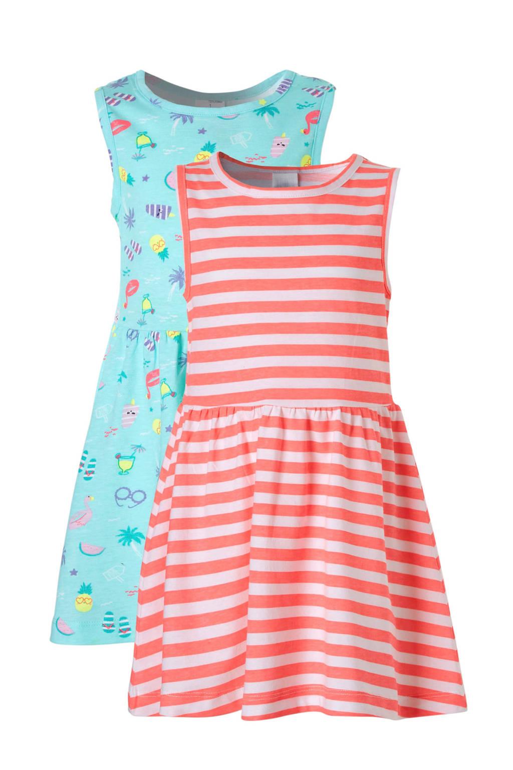 C&A Palomino jurk met alloverprint - set van 2 mintgroen/felroze, Mintgroen/felroze/wit