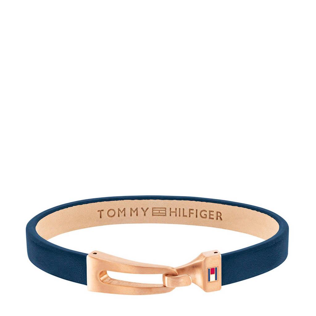 Tommy Hilfiger leren armband  TJ2790054 blauw, Blauw