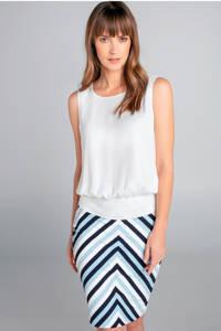 Claudia Sträter gestreepte rok donkerblauw/wit/lichtblauw, Donkerblauw/wit/lichtblauw