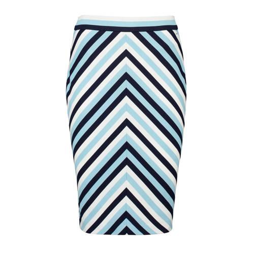 Claudia Str??ter gestreepte rok donkerblauw/wit/li