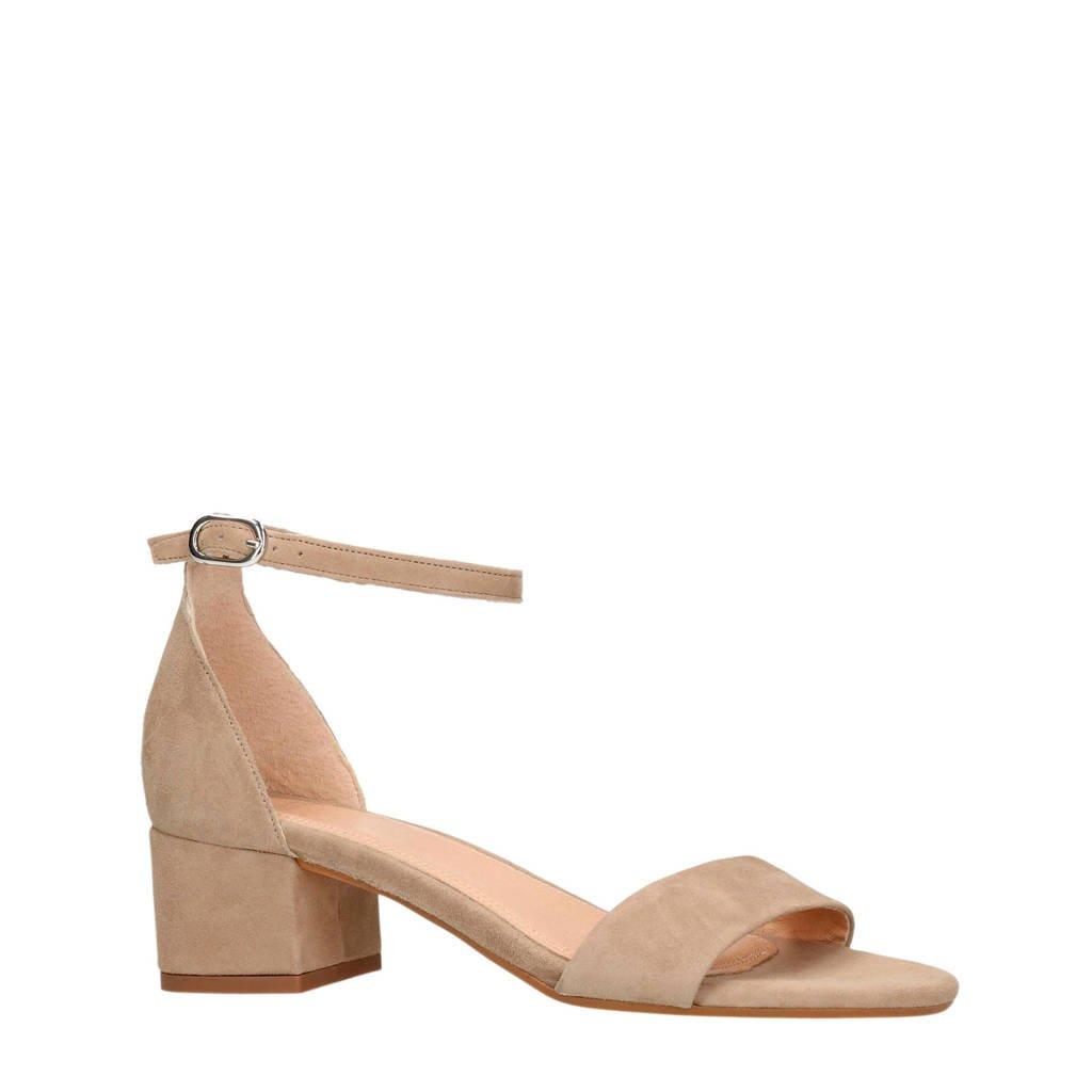Manfield suède sandalettes beige, Beige