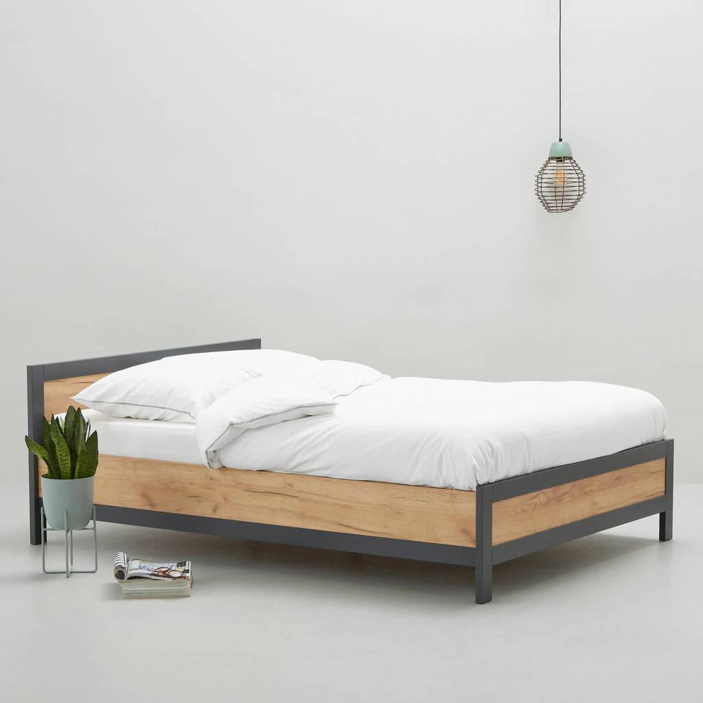 wehkamp home bed James  (140x200 cm), Hout, antraciet