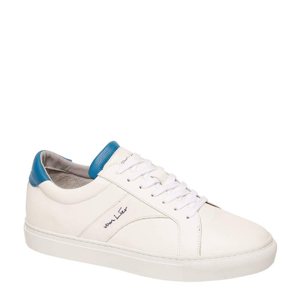 Van Lier  leren sneakers wit/blauw, Wit/blauw