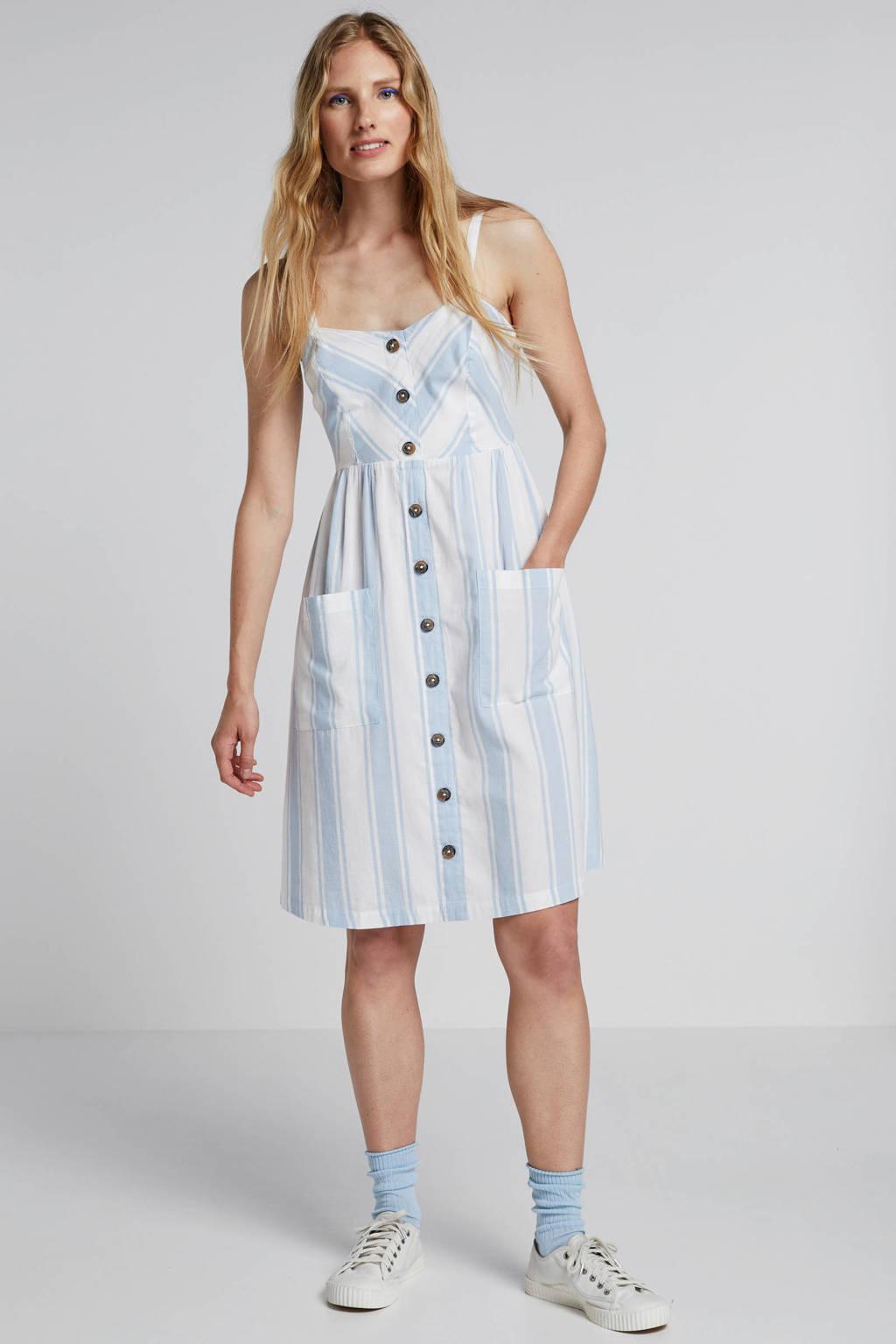 ONLY gestreepte jurk wit, Wit/lichtblauw