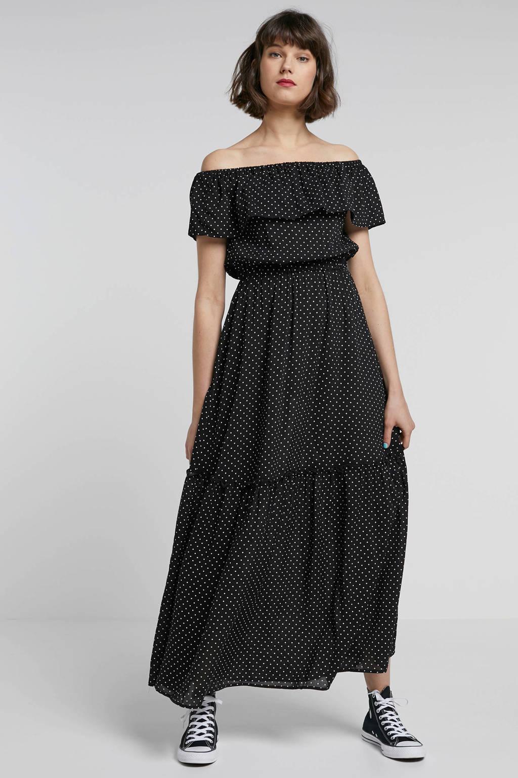 ONLY jurk met stippen en volant zwart, Zwart/wit