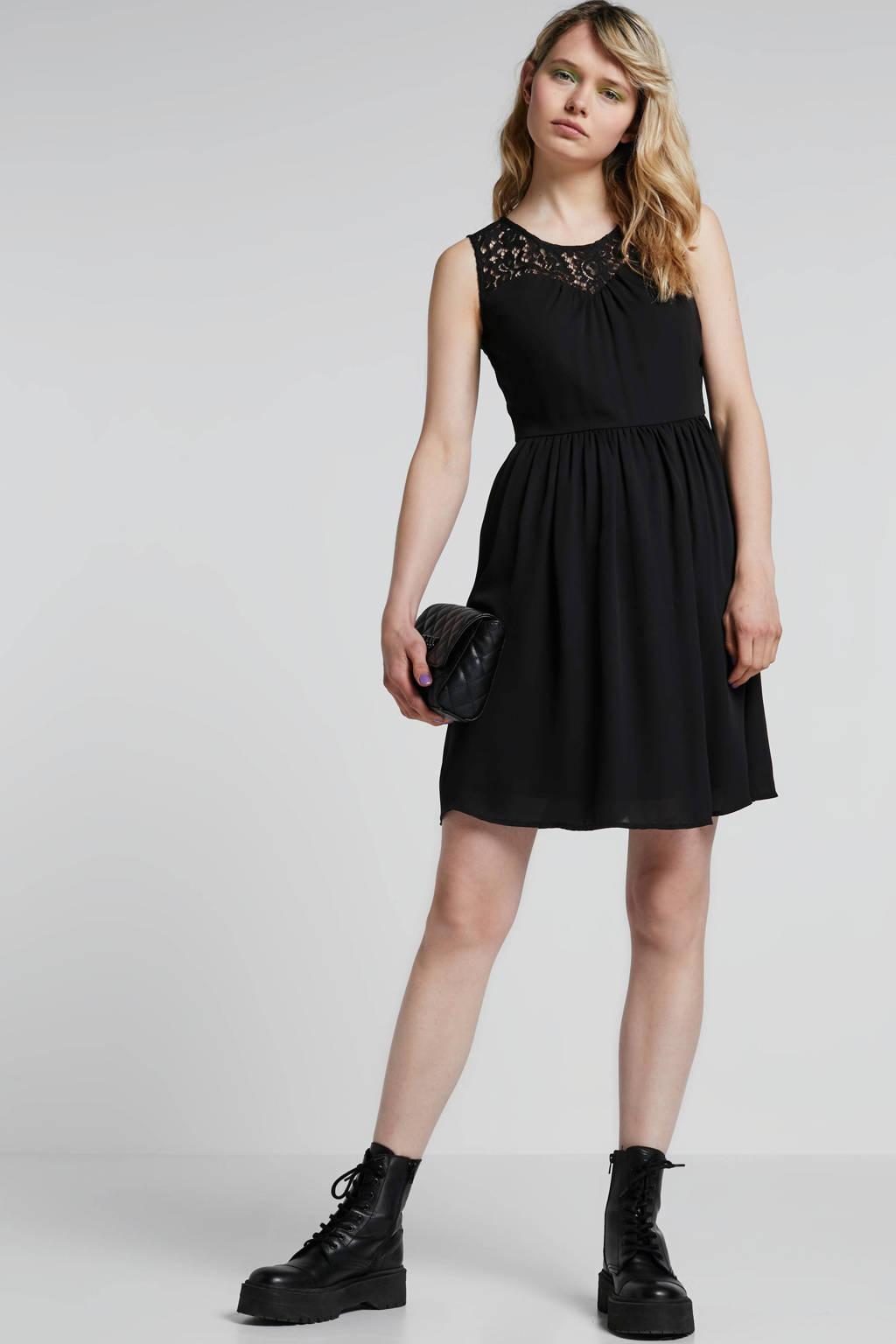 ONLY jurk met kant zwart, Zwart