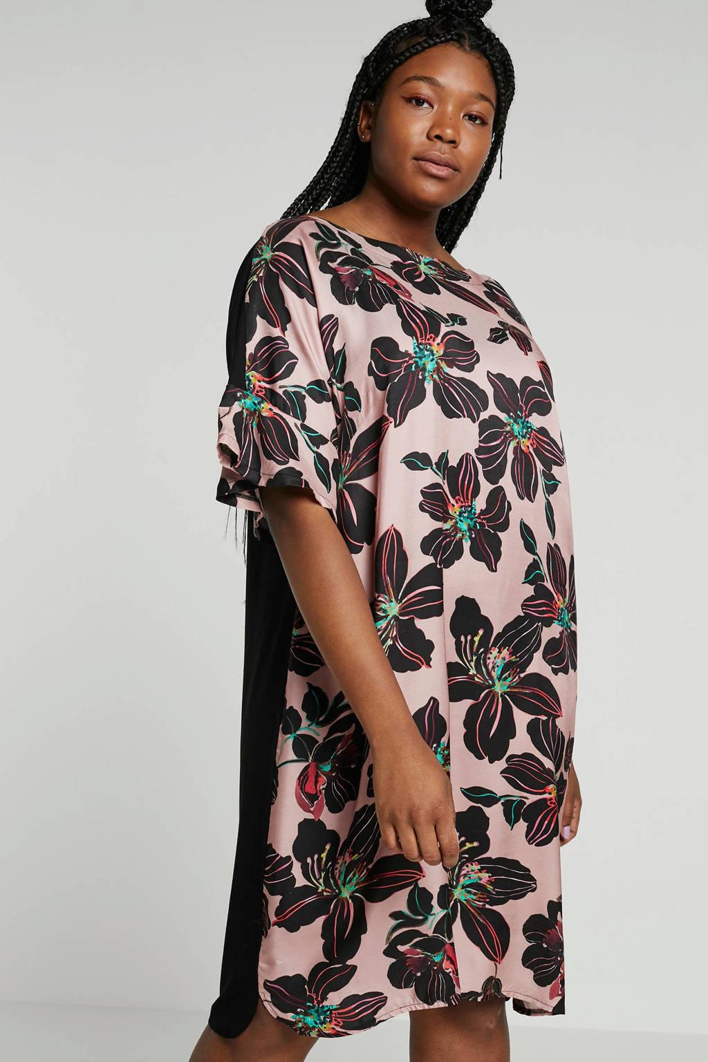 IVY BELLA jurk met bloemenprint zwart, Roze/zwart