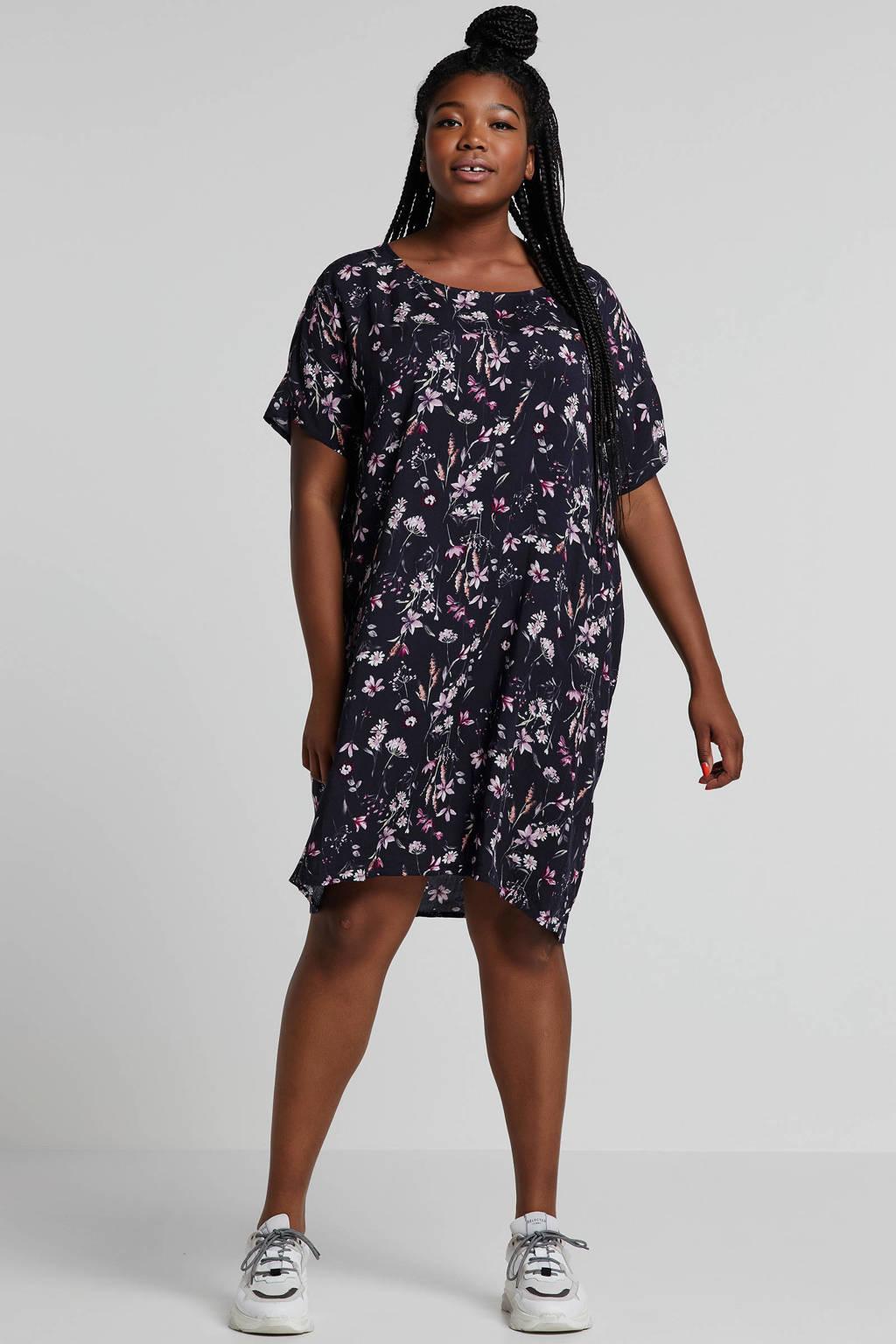 Zizzi gebloemde jurk, Donkerblauw/rood