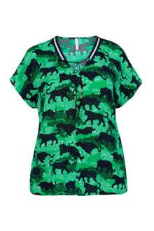 Plus top met panterprint groen/zwart