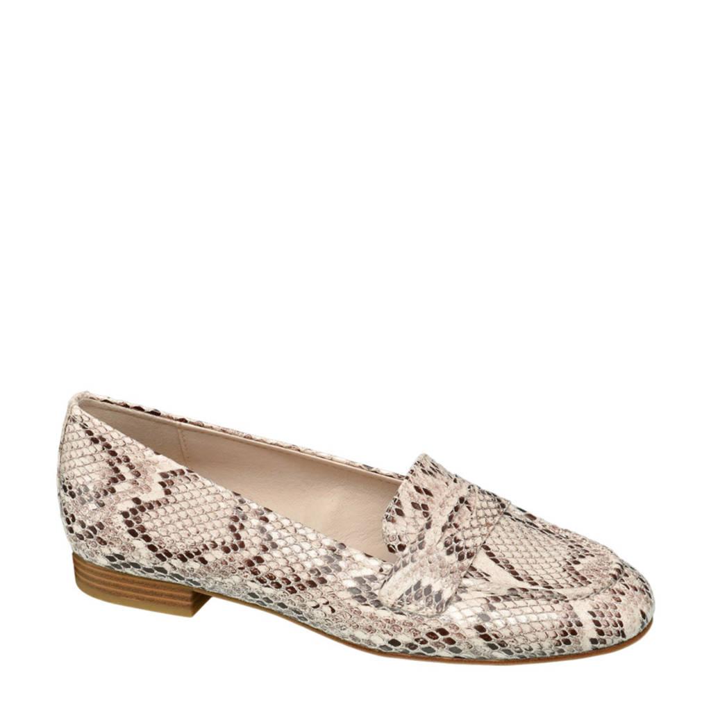 Graceland loafers met slangenprint beige, Beige