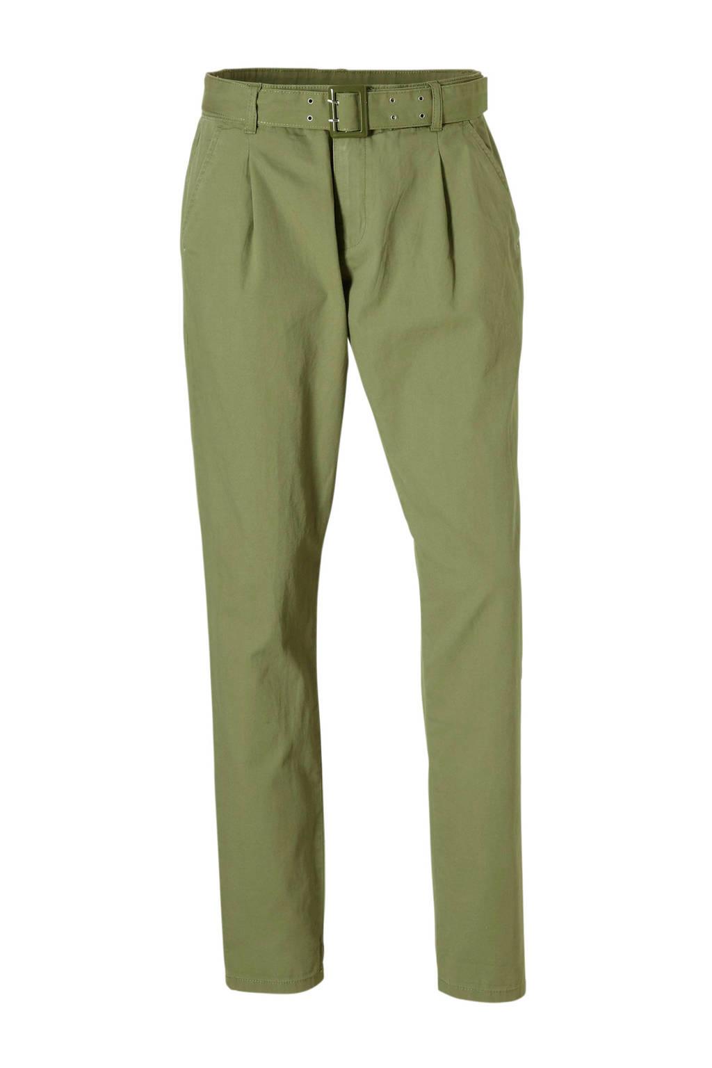 C&A Yessica broek met ceintuur groen, Olijfgroen