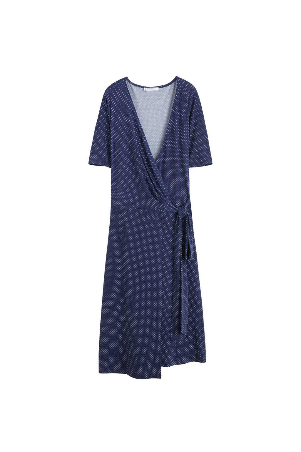 Violeta by Mango jurk met stippen donkerblauw, Donkerblauw/wit