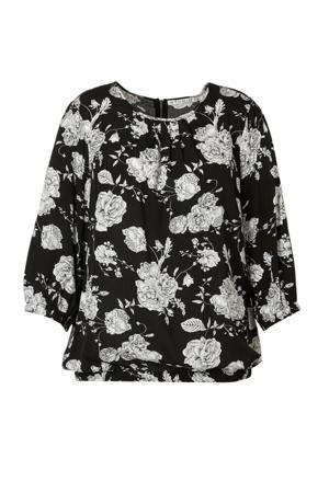 gebloemde blouse zwart/wit