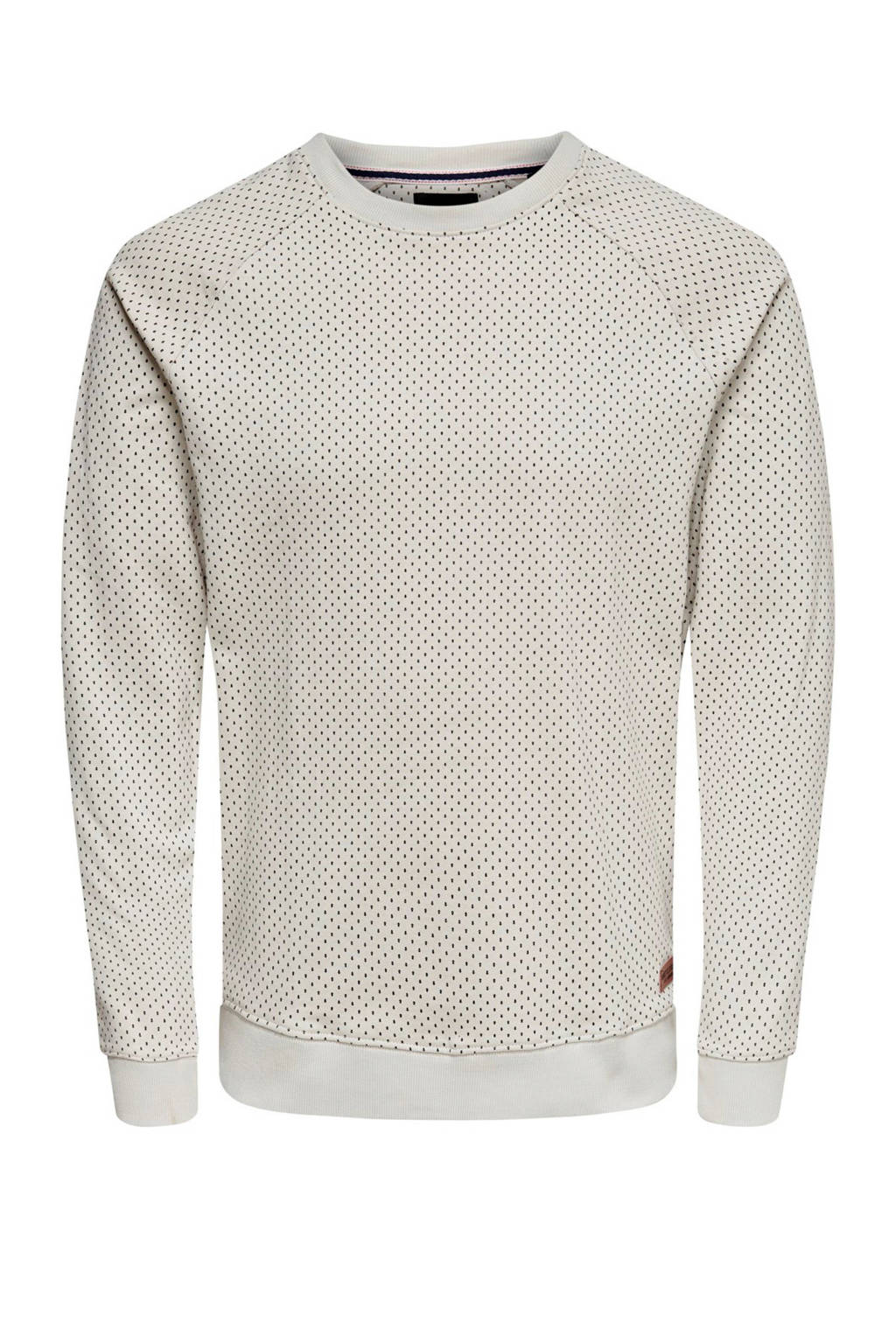 ONLY & SONS sweater met all over print wit, Wit