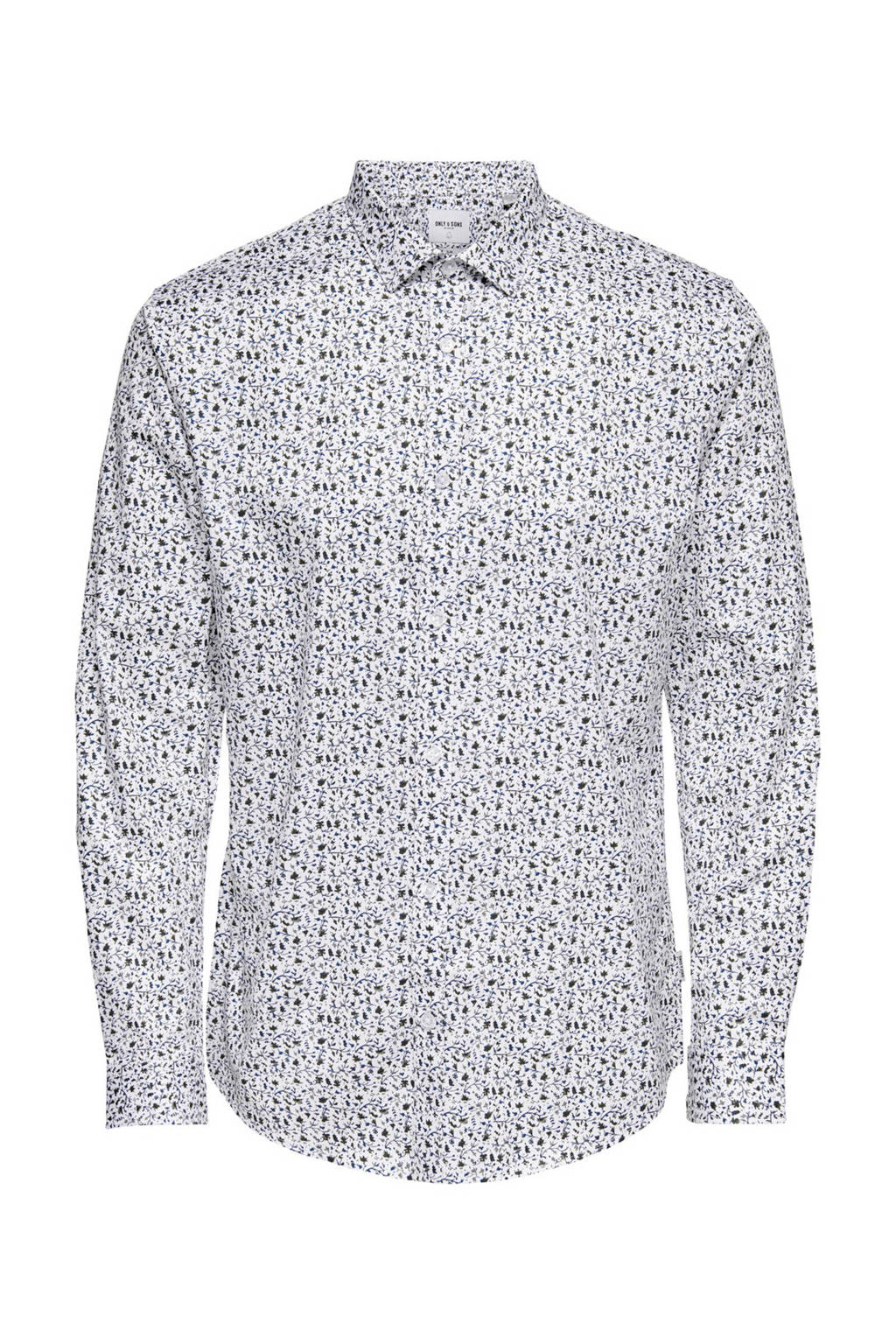 ONLY & SONS slim fit overhemd met all over print wit/blauw, Wit/blauw
