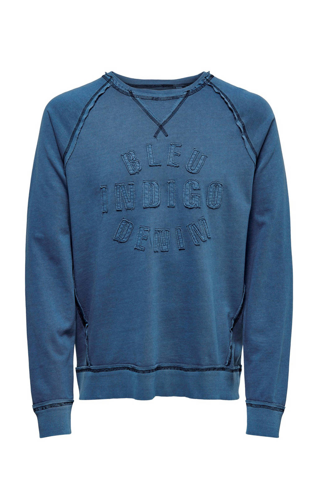 ONLY & SONS sweater met tekst en patches bauw, Bauw