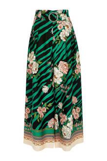 high waist culotte met all over print groen/zwart/ecru