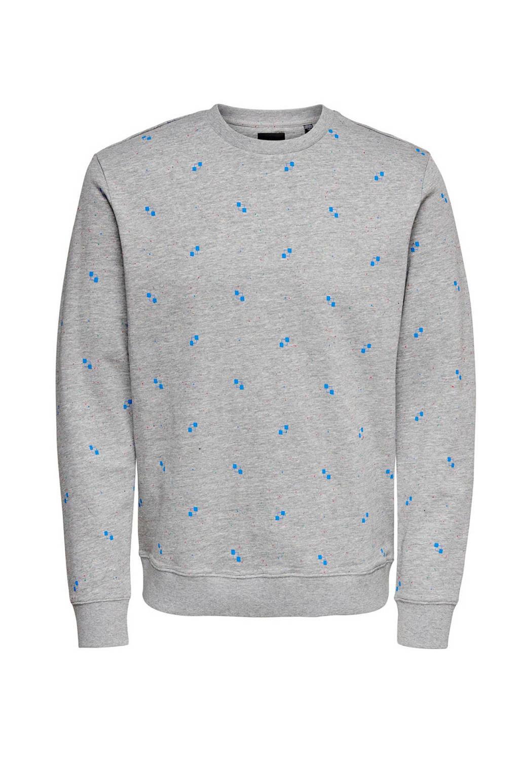 ONLY & SONS sweater met all over print grijs, Grijs/blauw