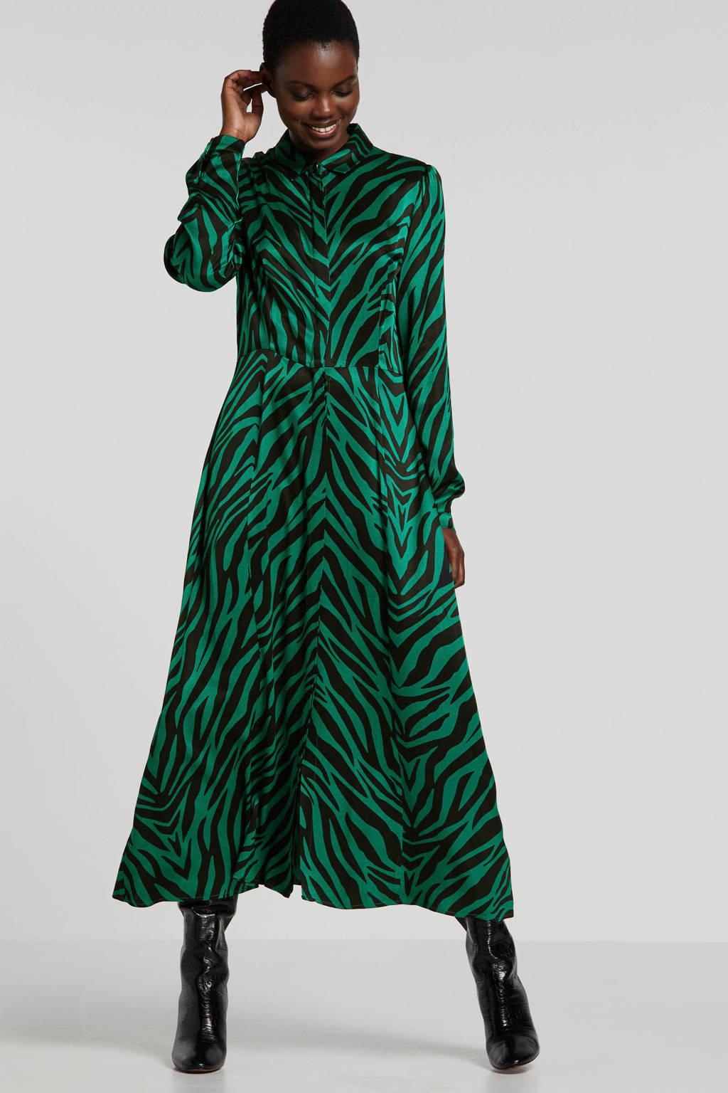 Ruby satijnen maxi jurk met zebraprint groen/zwart, Groen/zwart