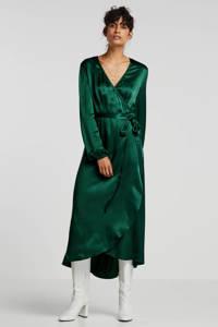 Ruby satijnen wikkeljurk groen, Groen