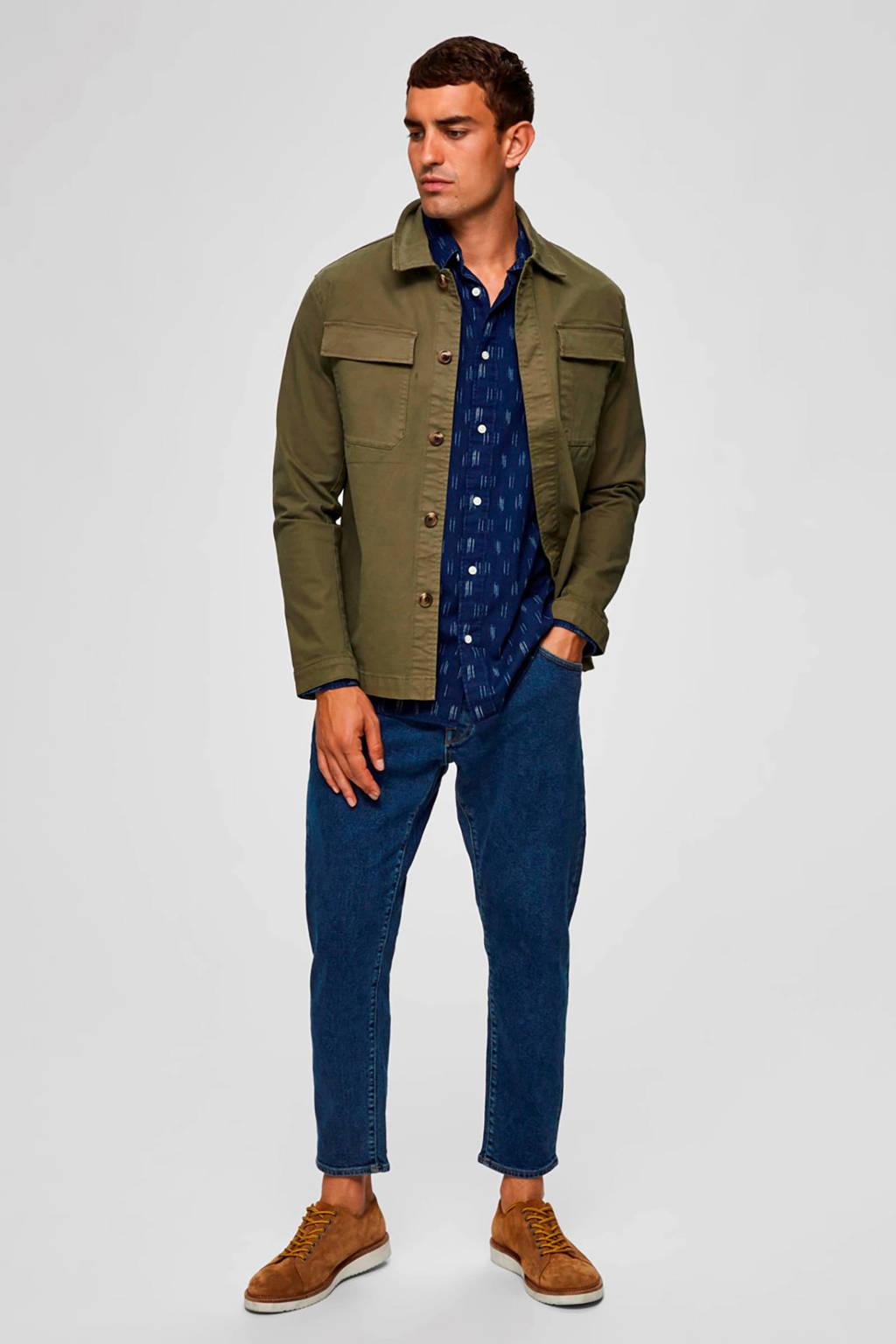 SELECTED HOMME slim fit overhemd van biologisch katoen donkerblauw/ecru/rood, Donkerblauw/ecru/rood