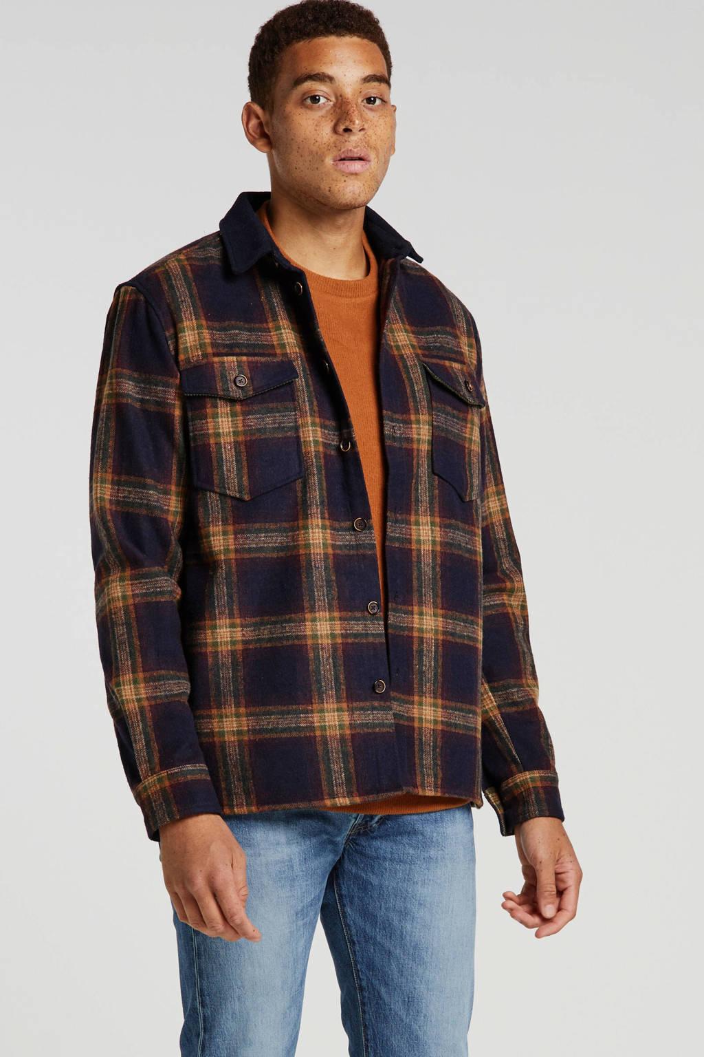 Anerkjendt geruit regular fit overhemd met wol donkerblauw, Donkerblauw