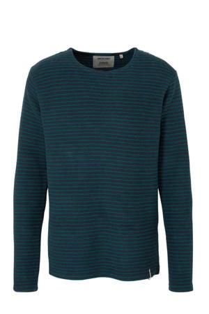 gestreepte badstof sweater blauw/groen