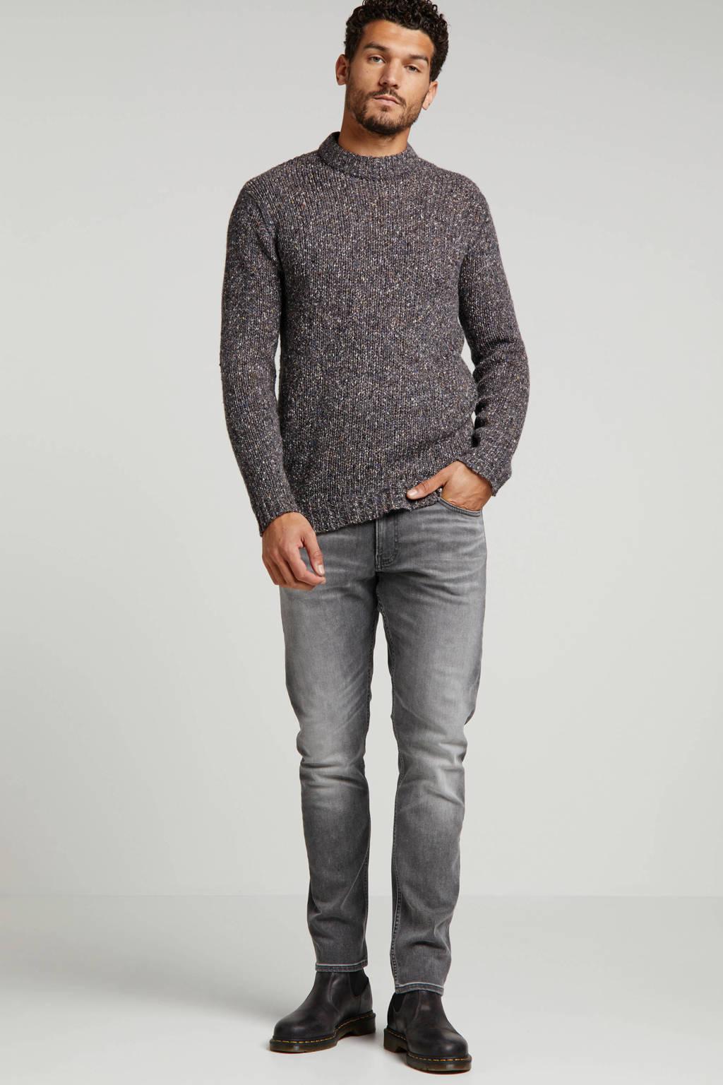 Anerkjendt grofgebreide trui met wol antraciet, Antraciet