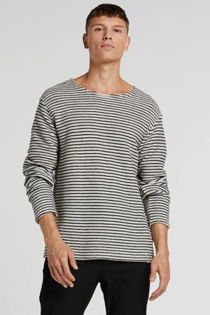 gestreepte badstof sweater grijs/zwart