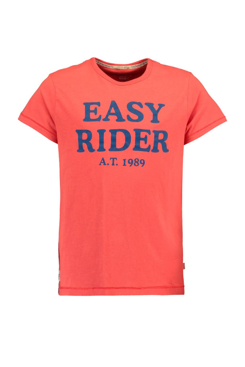 America Today Junior T-shirt Egon met tekst koraalrood, Koraalrood