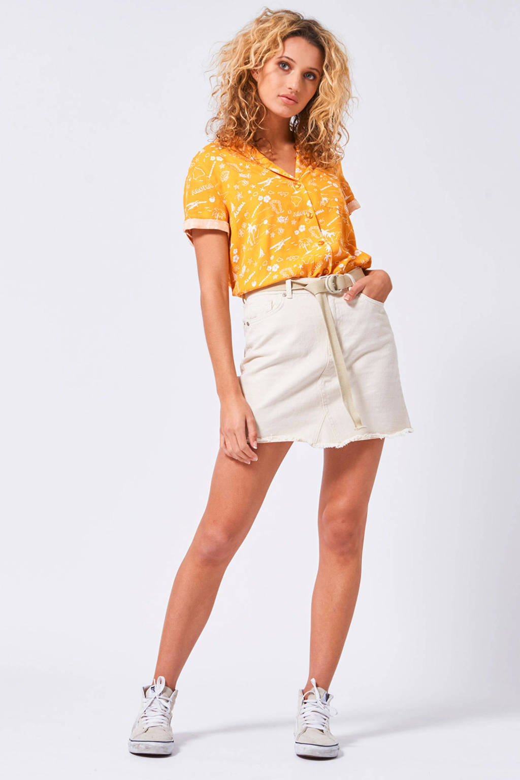 America Today blouse met allover print Illy geel, Geel
