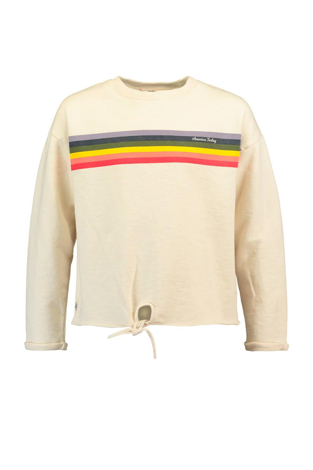 America Today Junior sweater Silvie met strepen ecru, Ecru