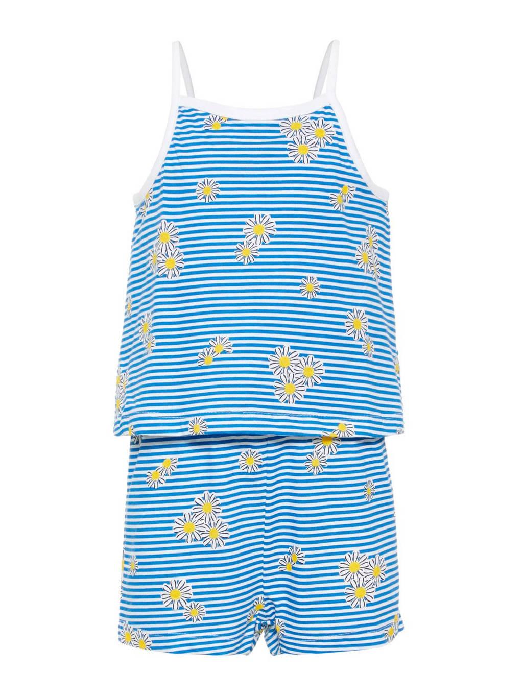 name it gestreepte jumpsuit Vigga met bloemen blauw, Blauw/wit