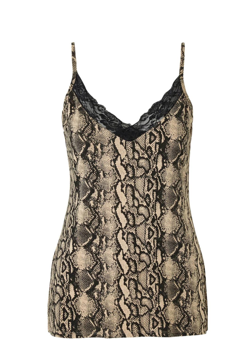wehkamp pyjamatop met slangenprint beige, Bruin