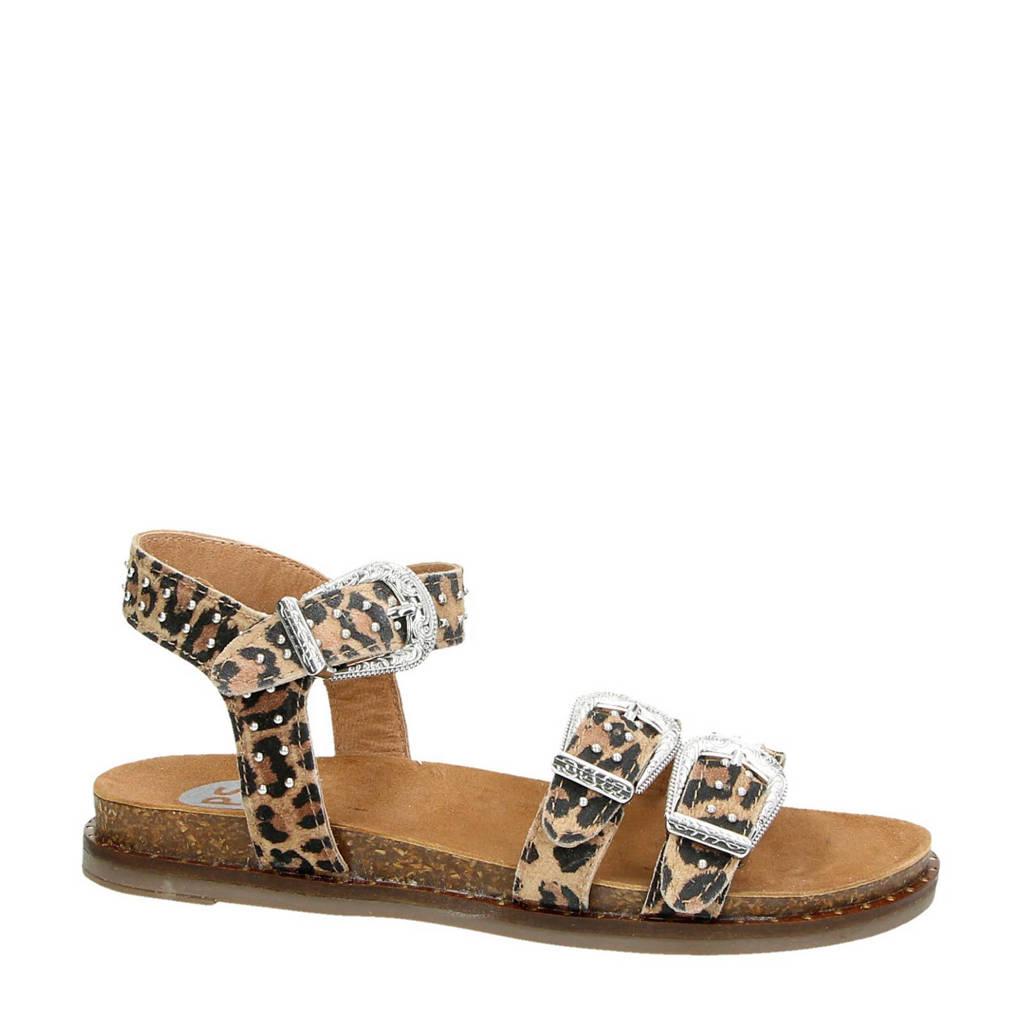 PS Poelman suède sandalen met panterprint, Bruin/zwart