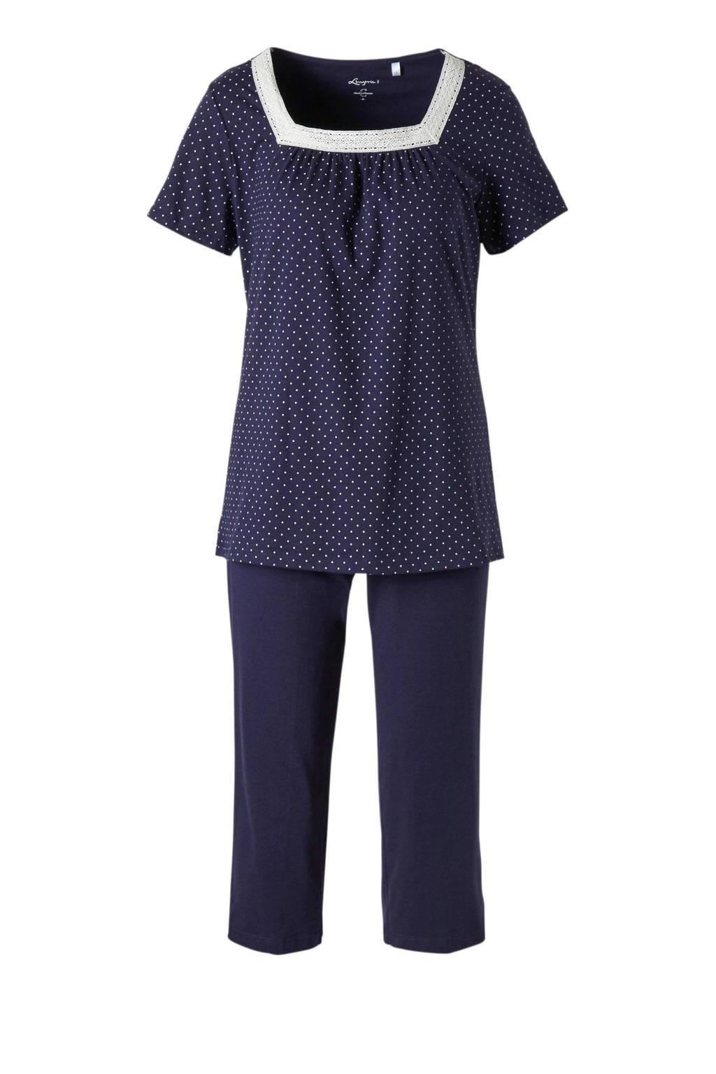 C&A Lingerie pyjama met stippen donkerblauw, Dot4ADkBlue