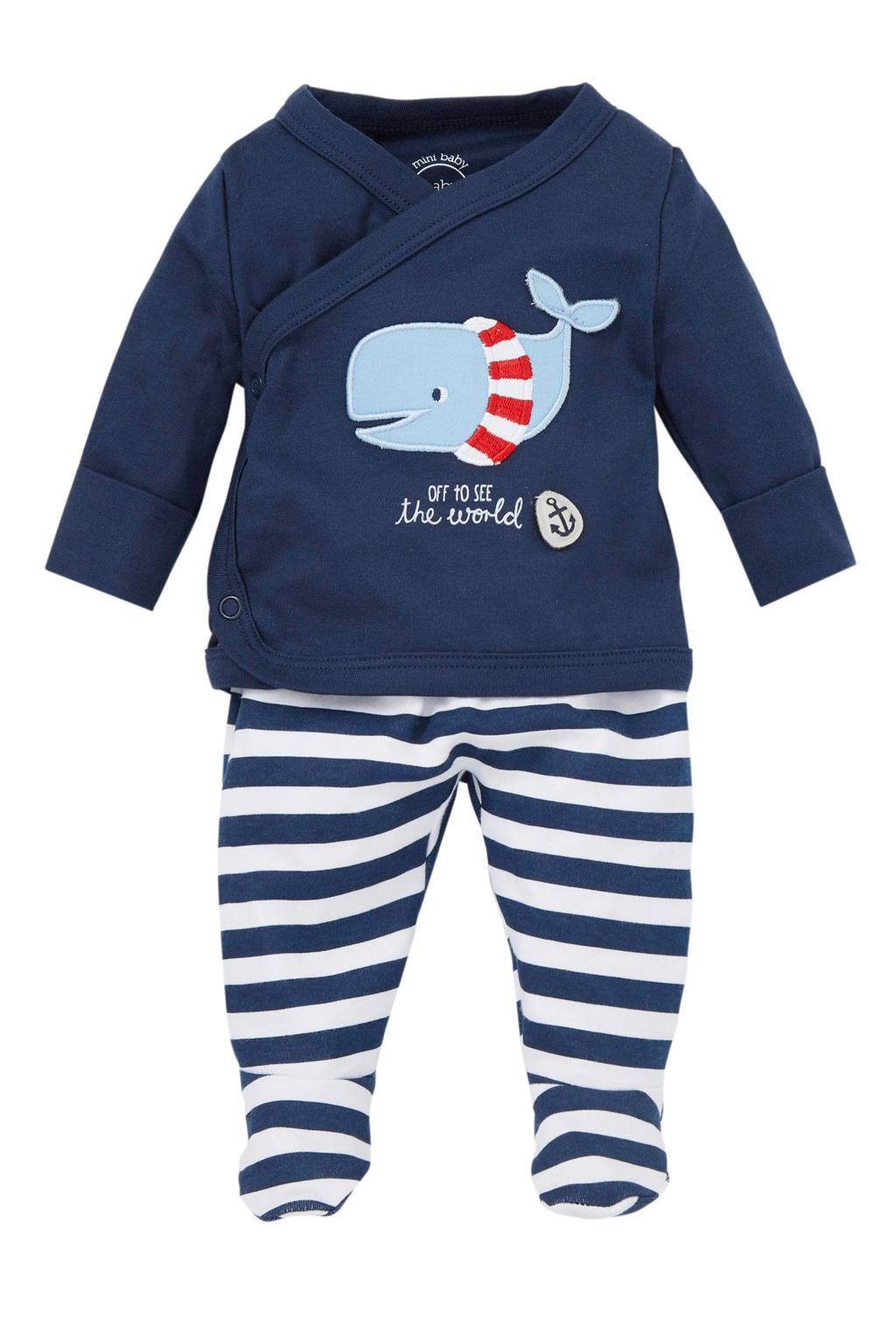 C&A Baby Club newborn baby overslagtop + broek, Donkerblauw