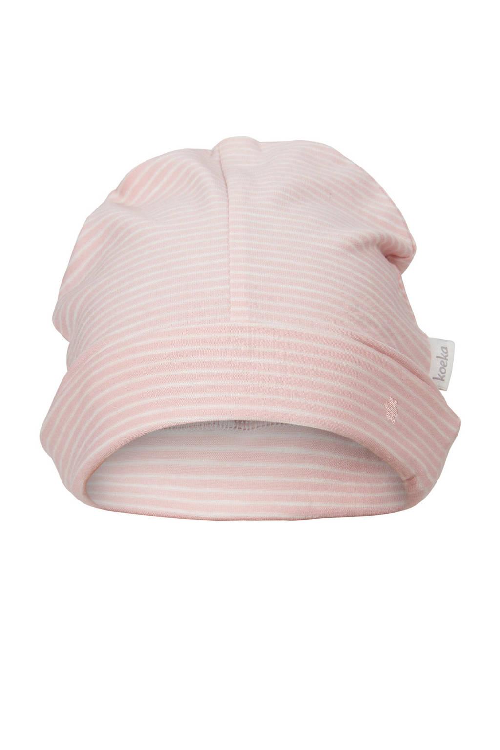 Koeka baby muts Linescape roze gestreept, Roze