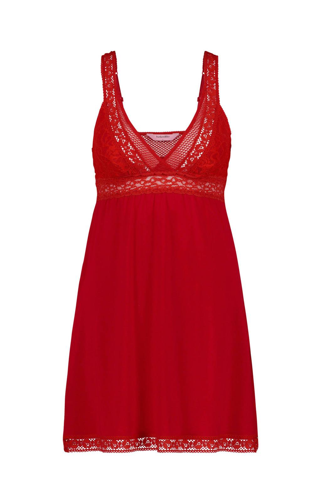 Hunkemöller slipdress Graphic lace met kant rood, Rood