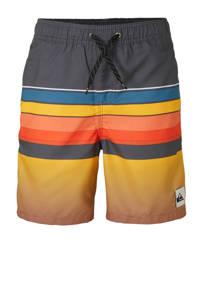 Quiksilver zwemshort met kleurvlakken geel, okergeel/grijs