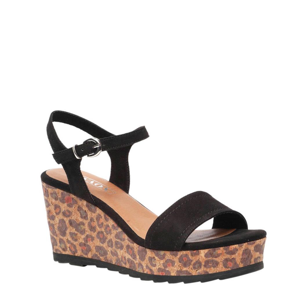 Scapino Nova sandalettes zwart met panterprint, Zwart/bruin