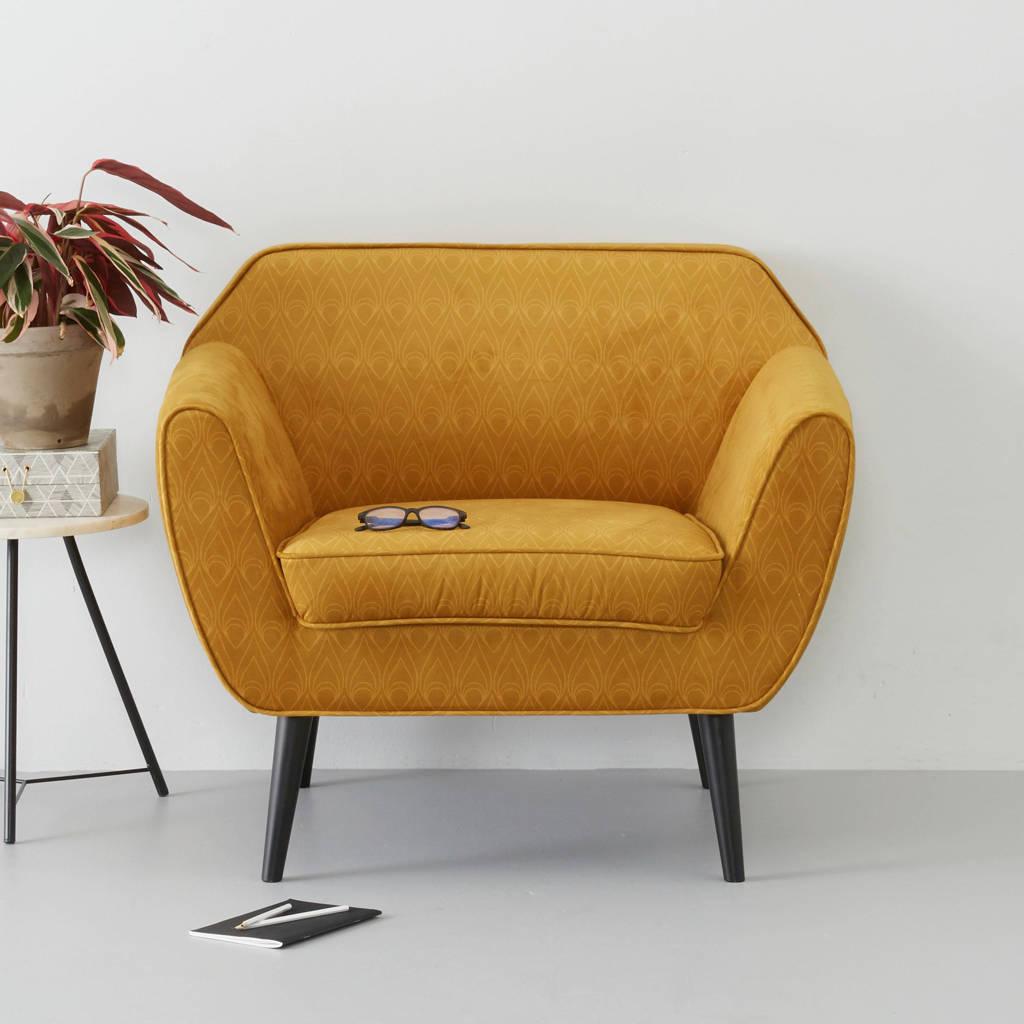 Woood fauteuil Rocco velours, Oker