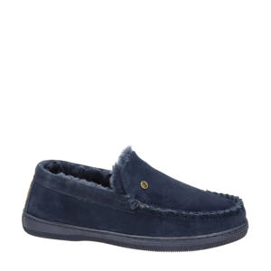 Grizzly suède pantoffels donkerblauw