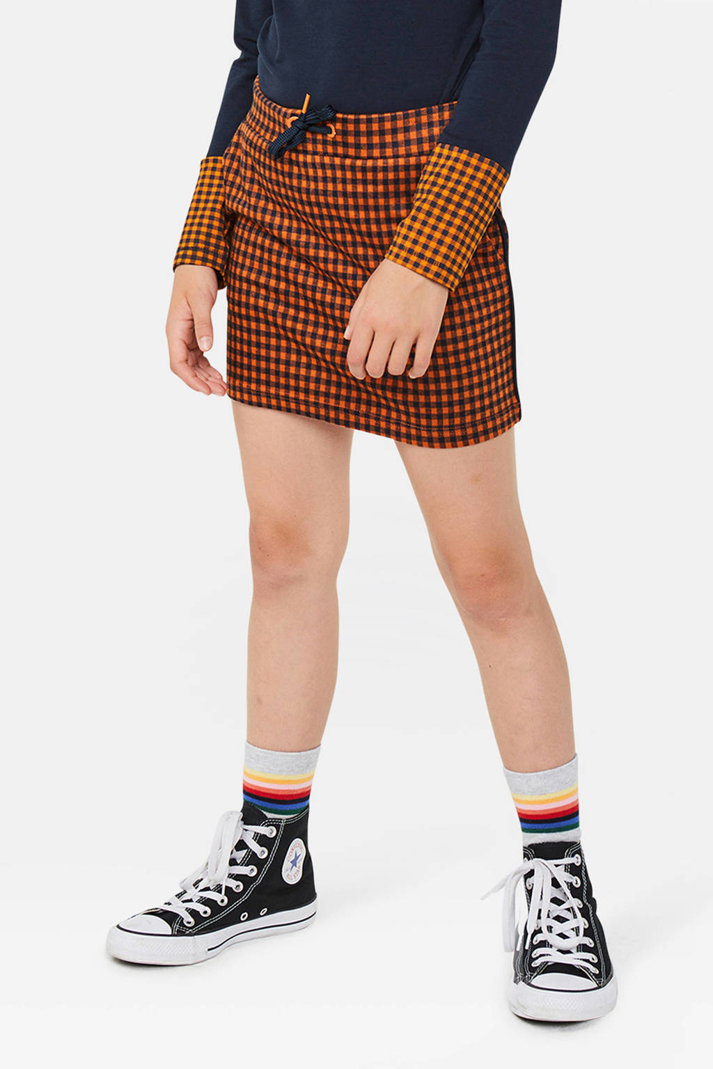 WE Fashion geruite rok oranje/zwart, Oranje/zwart