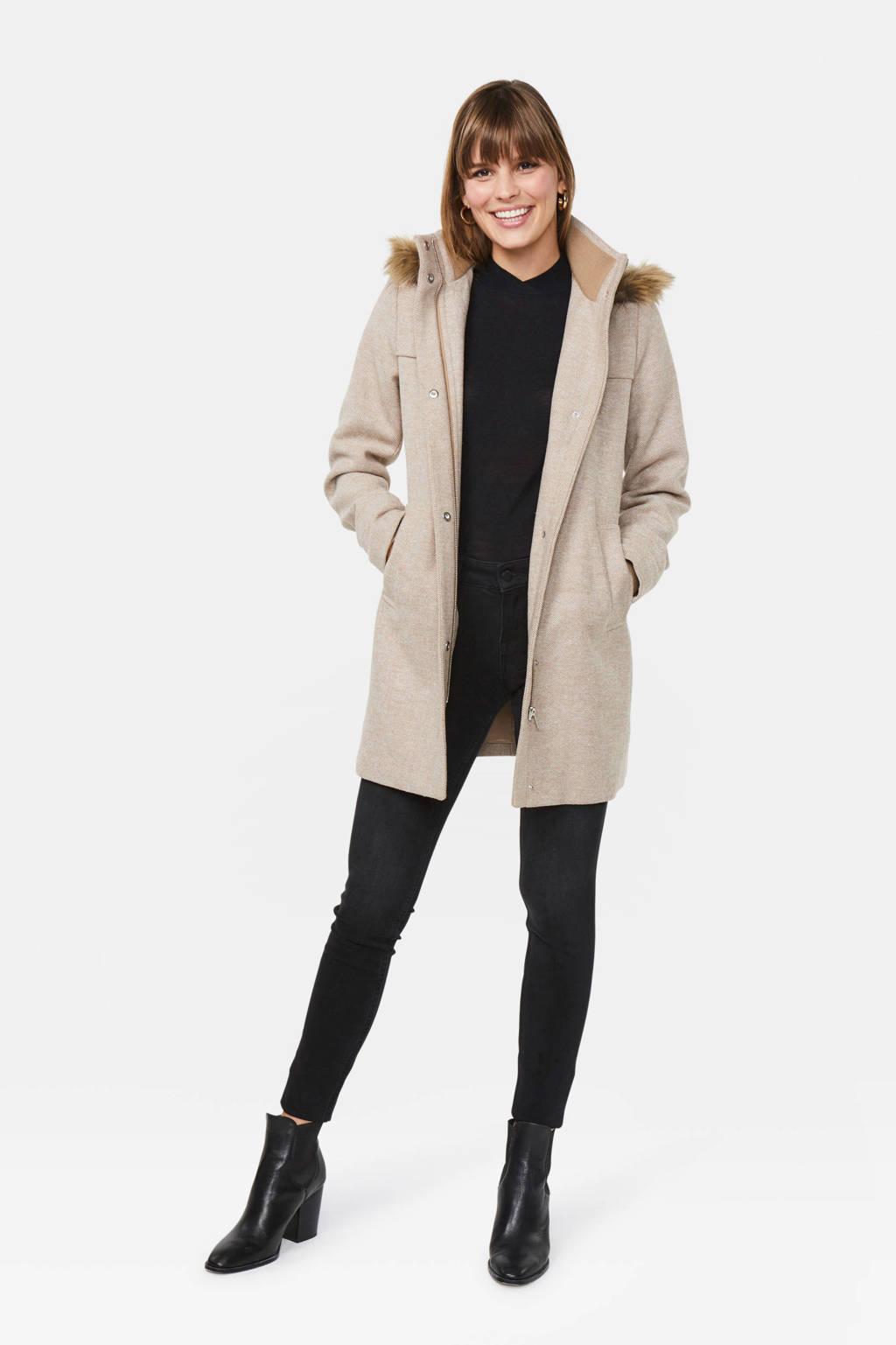 WE Fashion coat met visgraat lichtbruin, Lichtbruin