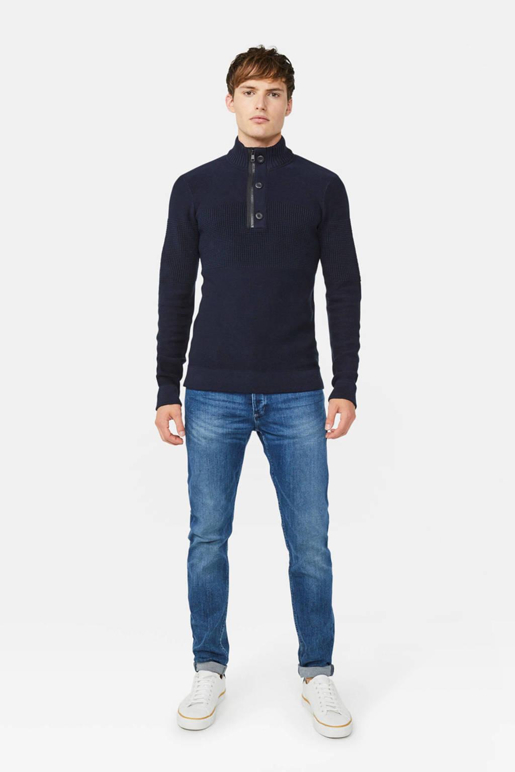 WE Fashion ribgebreide trui donkerblauw, Donkerblauw
